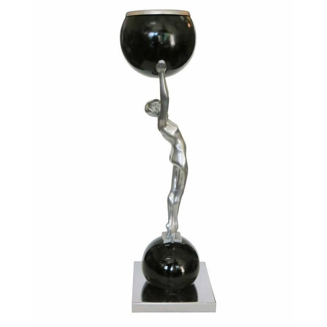 Art Deco Frankart Style Silvertone and Onyx Nude Figural Cocktail Smoker Ashtray For Sale - Image 3 of 10