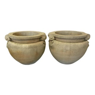 1970s Vintage Concrete Planters - a Pair For Sale