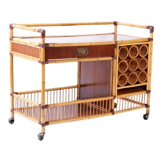 Bamboo Bar or Serving Cart For Sale
