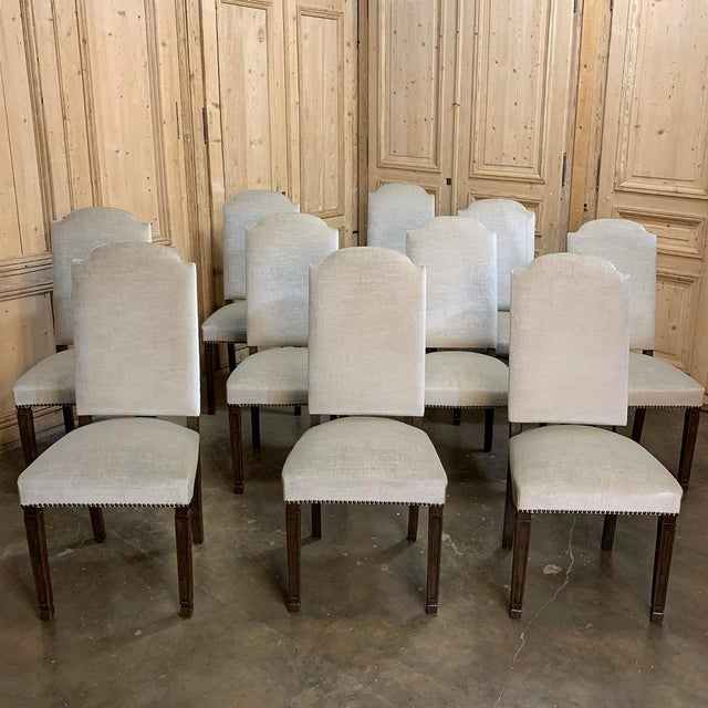 Set of 10 Neoclassical Dining Chairs with Mohair are perfect for adding a timeless flair to your dining experience! High,...
