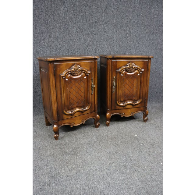 Brown Louis XV Style Carved Cherry Nightstands - a Pair For Sale - Image 8 of 8