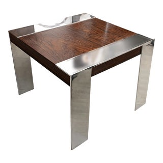 Milo Baughman Polished Steel and Rosewood Side Table