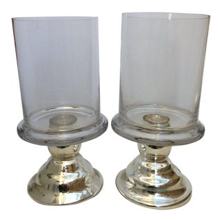 1990s Hurricane Candle Table Lamps - a Pair For Sale