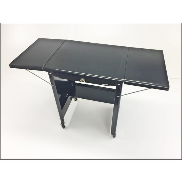Cole Steel Vintage Industrial Black Typewriter Table With Double Drop Leaf by Cole Steel For Sale - Image 4 of 13