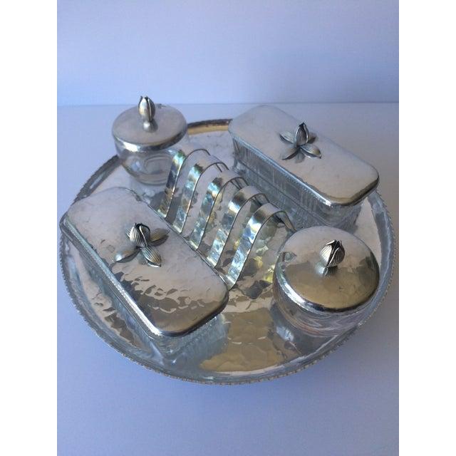 Vintage Lazy Susan Rodney Kent Hammered Aluminum Breakfast Set - Set of 6 - Image 2 of 9