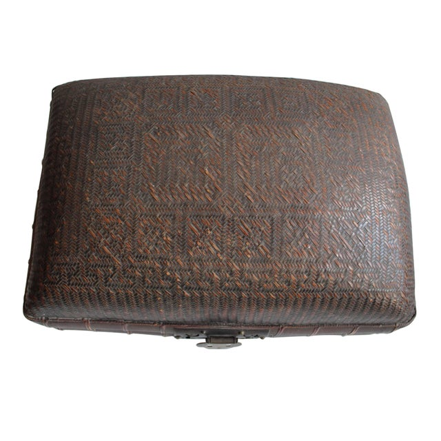 This is an incredible and unique Chinese woven rattan trunk. The top has a delicate curvature and the color is gorgeous. A...
