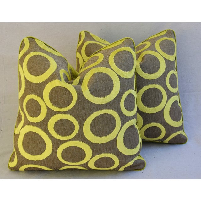 Pair of large reversible custom-tailored designer Opuzen Fabric pillows in a never used imported fabric from Belgium...