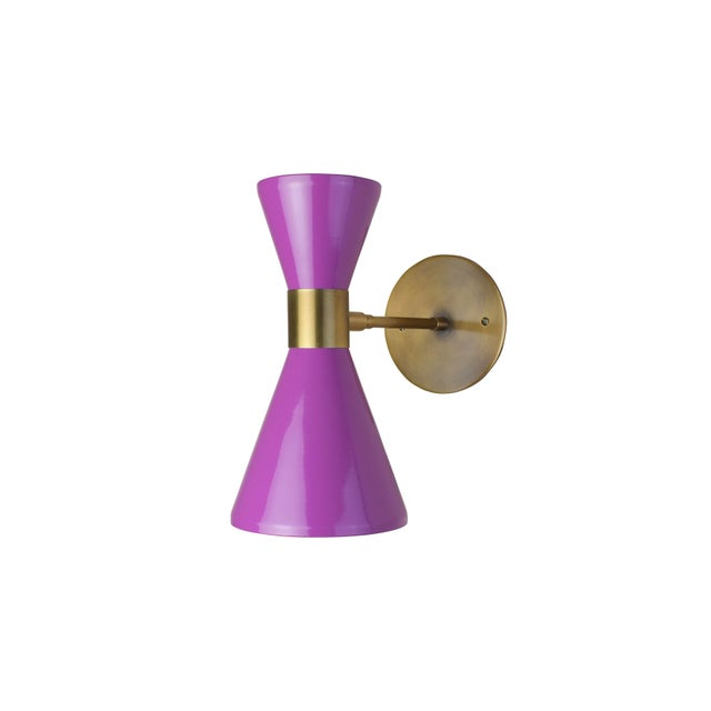 Blueprint Lighting Campana Wall Sconce in Brushed Brass and Purple Enamel by Blueprint Lighting For Sale - Image 4 of 5