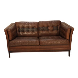 Chocolate Brown Danish Leather and Rosewood Loveseat