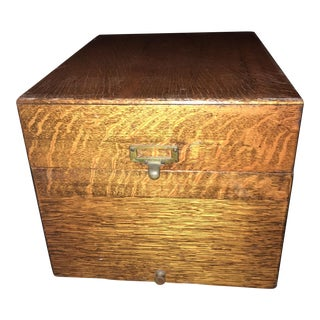1920s Arts and Crafts Flamed Oak Filing Box For Sale