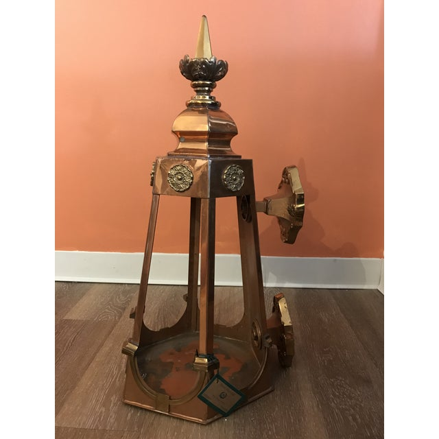 French Country 1950s Six Sided Copper Wall Mount Lantern For Sale - Image 3 of 10