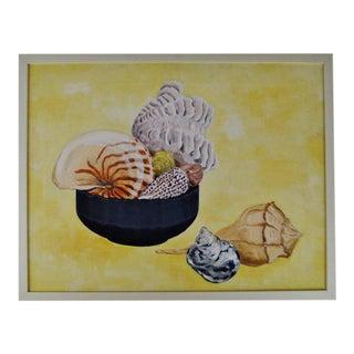 Vintage Framed Mixed Media Nautical Seashell Still Life For Sale