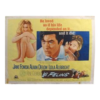 "1964 Original American Movie Poster - ""Joy House"" (Les Félins) With Jane Fonda & Alain Delon For Sale"