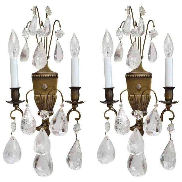 Bohemian Rock Crystal and Bronze Wall Sconces, A Pair For Sale - Image 9 of 9