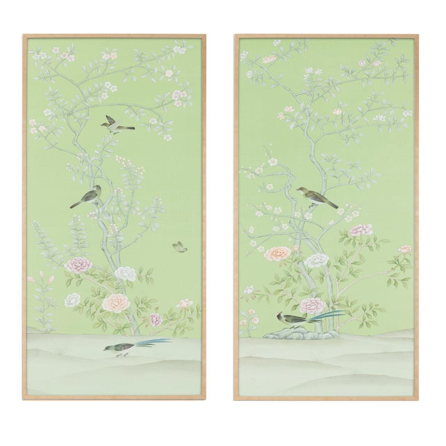 """Jardins en Fleur """"Stockwood Park"""" by Simon Paul Scott Chinoiserie Hand-Painted Silk Diptych, Out of Production - 2 Pieces For Sale In Los Angeles - Image 6 of 6"""