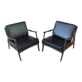 1960s Vintage Walnut and Leather Italian Chairs - A Pair For Sale