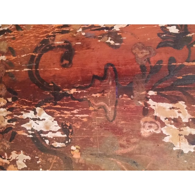 Antique Primitive Painted Red Headboard - Image 7 of 10