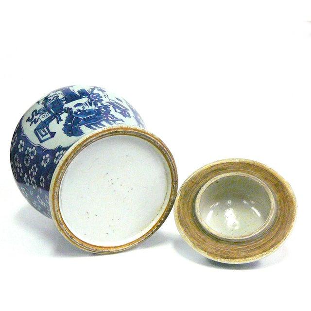 Porcelain Blue & White Temple Jar Flower Vase - Image 3 of 5
