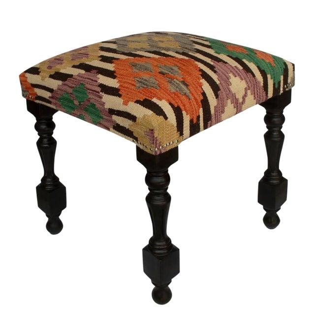 Arshs Dora Chocolate/Ivory Kilim Upholstered Handmade Ottoman For Sale