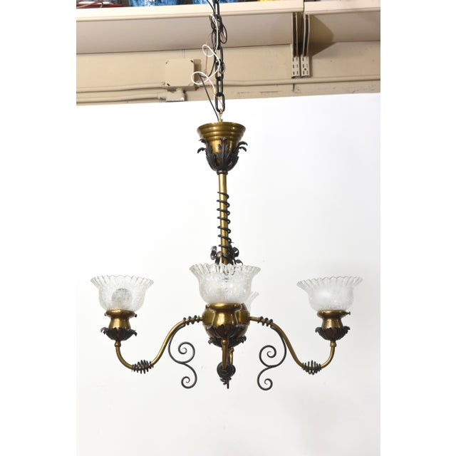 Gold Four Light Brass and Wrought Iron Early Electric Fixture For Sale - Image 8 of 10