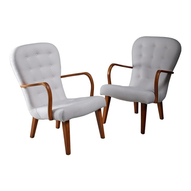 Pair of Lounge Chairs With Curved Armrests, Denmark, 1940s For Sale