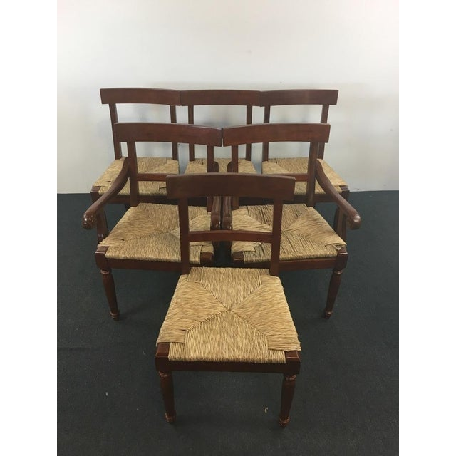 Vintage Carved Mahogany & Rush Seat Dining Chairs - Set of 6 - Image 2 of 4