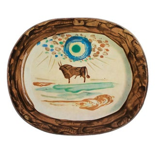 1955 Pablo Picasso a Young Bull Ceramic Plate, Original Period Swiss Lithograph For Sale