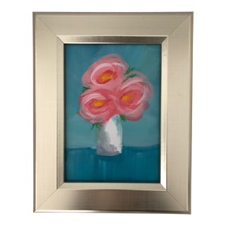 Pink Flowers Painting in Silver Wood Frame For Sale