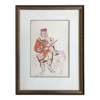 William Gropper Lithograph Man Playing Violin For Sale