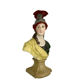 Early 19th Century Vintage English Staffordshire Pearlware Bust of Minerva For Sale