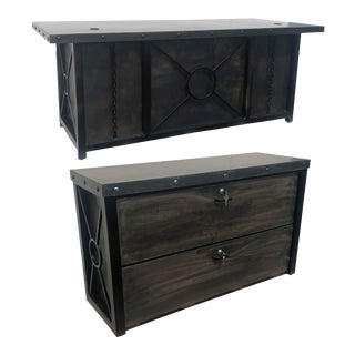 Handmade Industrial Desk With Matching File Credenza by Invictus Steelworks For Sale