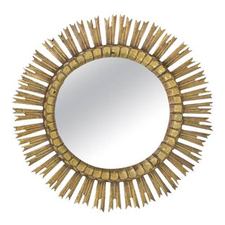 Spanish Giltwood Sunburst Mirror With Carved Frame, 1950s For Sale
