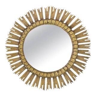 Spanish Giltwood Sunburst Mirror With Carved Frame, 1950s