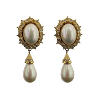 Vintage Christian Dior Gold Tone Clip Earrings With Faux Pearl For Sale