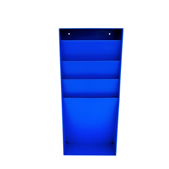 Mid-Century Industrial Steelcase Electric Blue Wall Mount File Rack For Sale