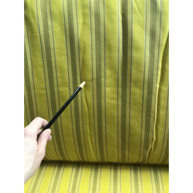 Bright Yellow & Green Stripe French Directoire Louis XVI Settee Loveseat For Sale - Image 10 of 13