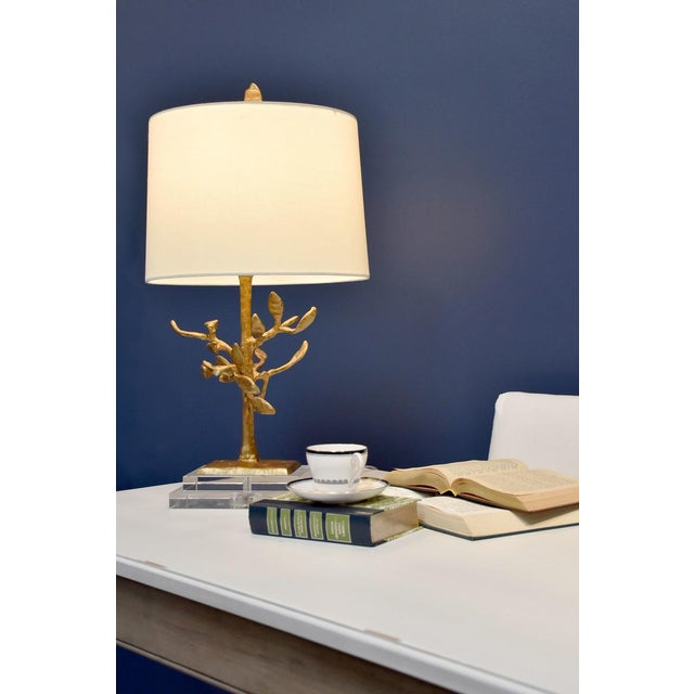 Brown Audubon Park Nature Form Gold Plaster Table Lamp For Sale - Image 8 of 8
