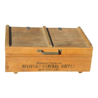 Vintage Industrial Tools Supplies Storage Box for Beliveau General Supply For Sale