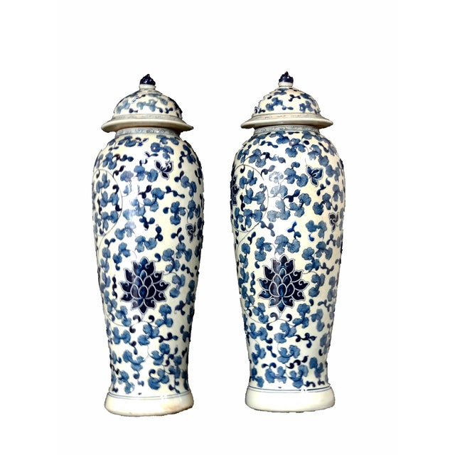 Blue & White Porcelain Jars - A Pair - Image 2 of 5