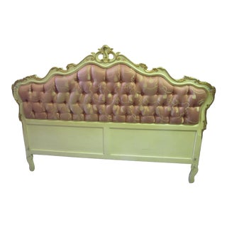 Italian Mid Century Hand Painted Headboard With Tassel Upholstery For Sale