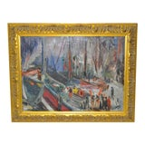 Image of Georgia Bemis Impressionist Harbor Scene C.1960 For Sale