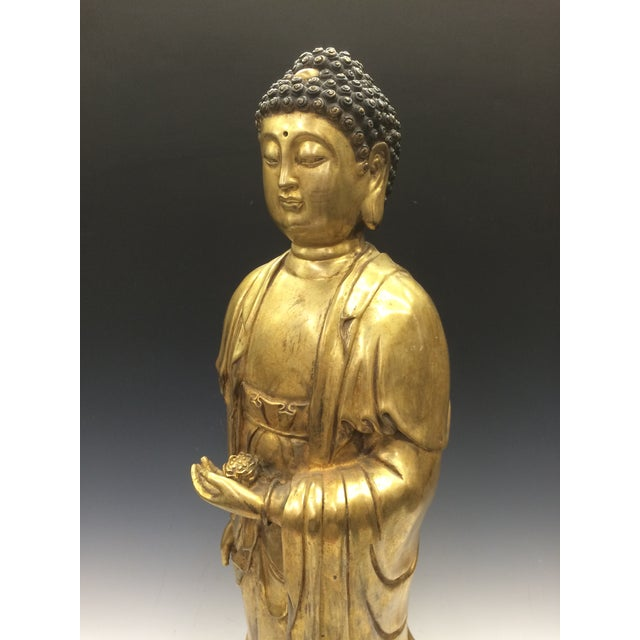 Chinese Art Gold Gilt Bronze Standing Kwan Yin Sculpture - Image 8 of 10