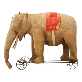 """Original Antique """"Steiff"""" Mohair Elephant Pull Toy (early 20th Century) For Sale"""