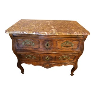 Late 18th Century Louis XV Provincial Fruitwood Bombe Marble Top Commode For Sale