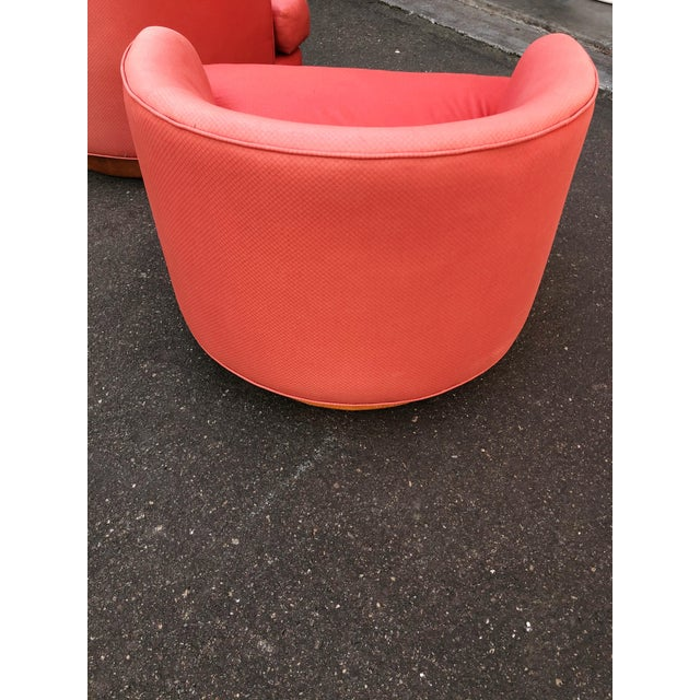 Textile Vintage Milo Baughman Style Custom Swivel Chairs in Original Coral Fabric - a Pair For Sale - Image 7 of 11