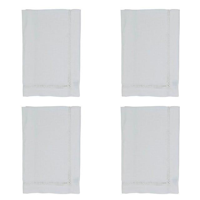 Traditional White Flower Hemstitch Dinner Napkins - Set of 4 For Sale - Image 3 of 3