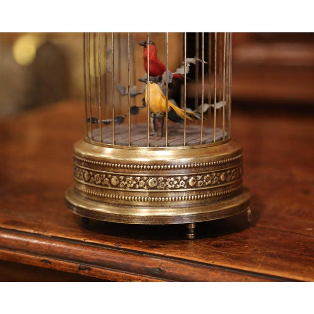 Add a charming, lively detail to a mantel (fireplace) or tabletop with this colorful, antique birdcage. Crafted in France...