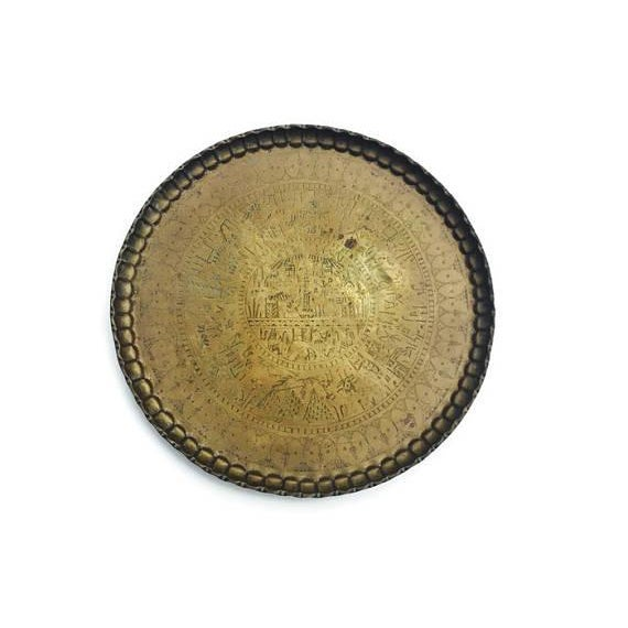 Vintage Moroccan Brass Tray Coffee Table - Image 5 of 7