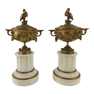 Louis XVI Style Cassoulets in Bronze and Marble with Pelicans - A Pair For Sale