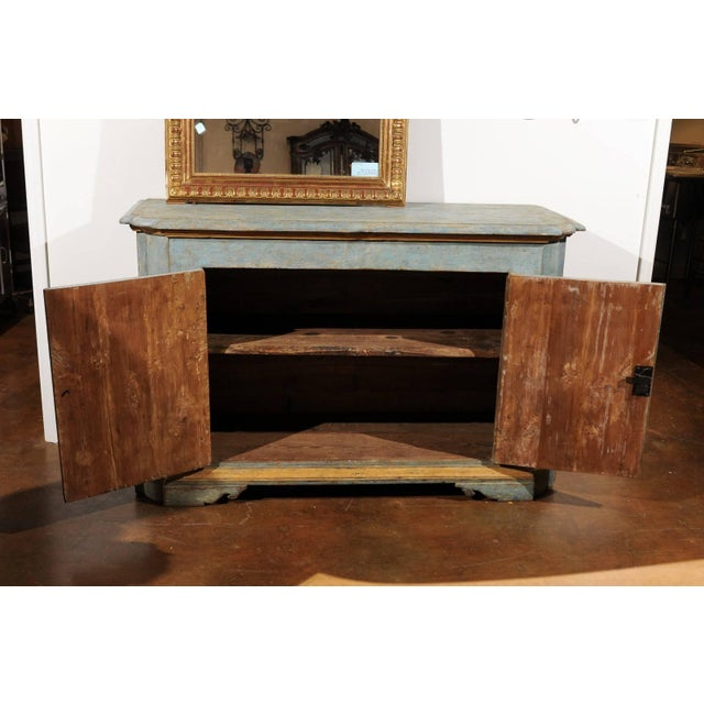 Italian Florentine Light Grey Blue Painted Buffet with Two Doors from the 1820s For Sale - Image 9 of 11